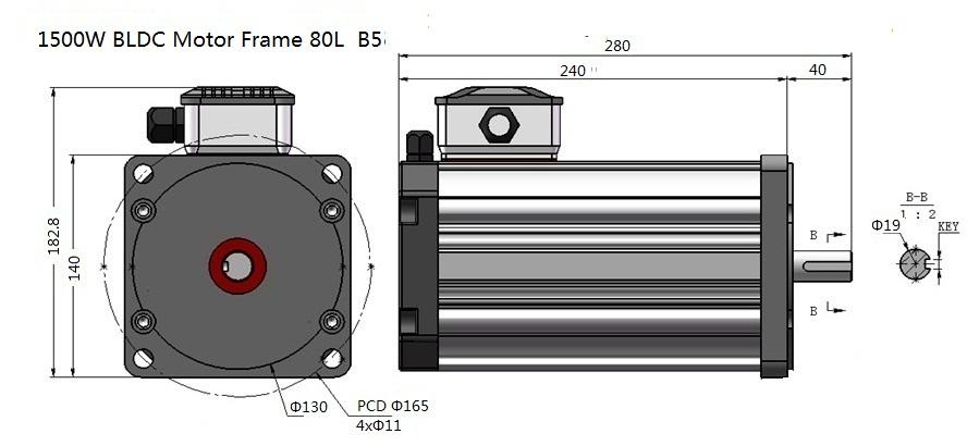 1500W 1500RPM BLDC Motor Frame 80L B5
