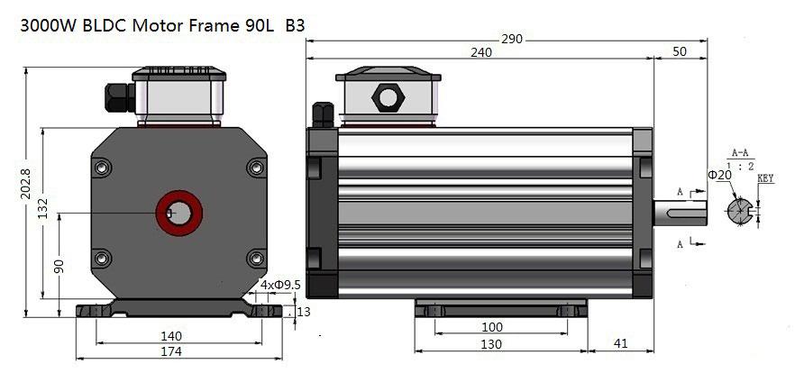 3000W BLDC Motor Frame 90L  B3