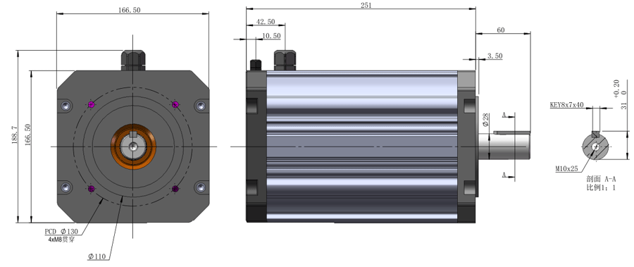 Drawing of 100S B14 Frame Size Motor.png