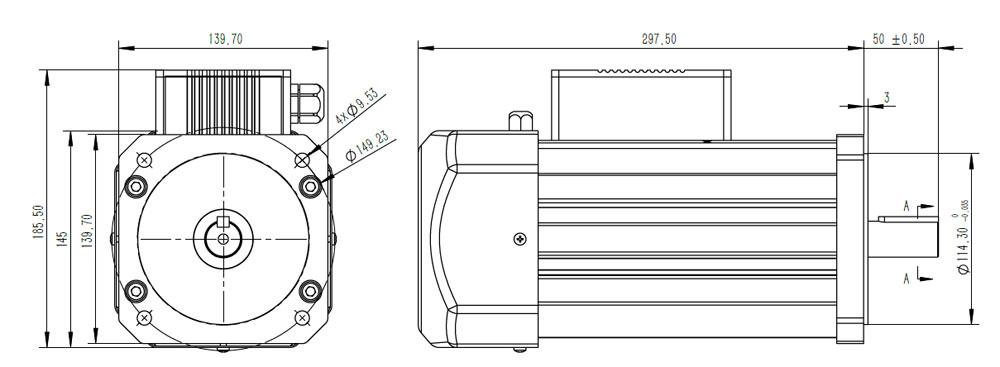 48V 4100W NEMA Frame BLDC Motor Configuration